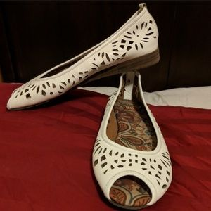 BC Footwear laser cut peep toe flats slip on white